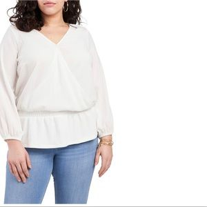 Vince Camuto Wrap Front Long Sleeve Blouse (Ivory)
